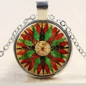 Red & Green Compass Silver & Glass Necklace